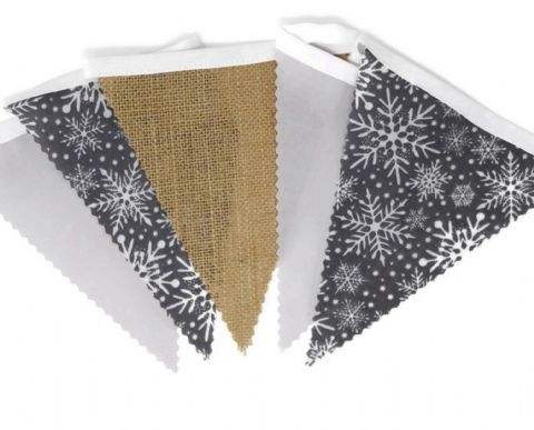 CHRISTMAS BUNTING  Snowflakes, Hessian and Plain Grey on White Tape  - 3m - 14 flags (single-sided)